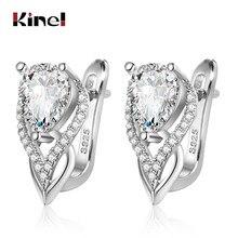 Kinel-pendientes de gota de circonia cúbica redonda brillante para mujer, joyería femenina de Color plateado, regalo de Navidad
