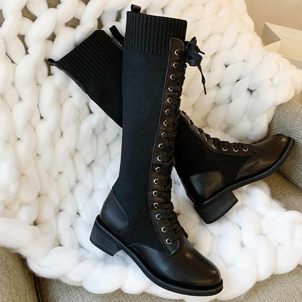 JAYCOSIN ใหม่แฟชั่นผู้หญิงเข่า-รองเท้าบูทสูง Solid LACE-Up สแควร์ Heel รอบ Toe รองเท้า Elegant PARTY cross-tied รองเท้า