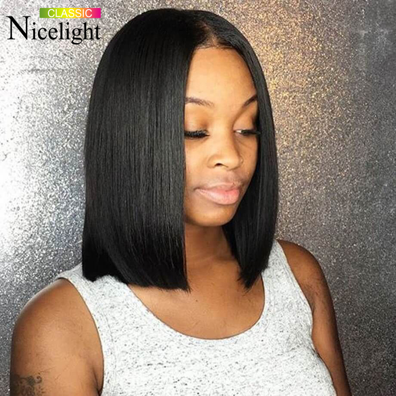 Nicelight Hair Bob Lace Front Wigs 150% Density Lace Wigs 13x4 Human Hair Wigs Malaysian Remy Straight Wig For Black Women
