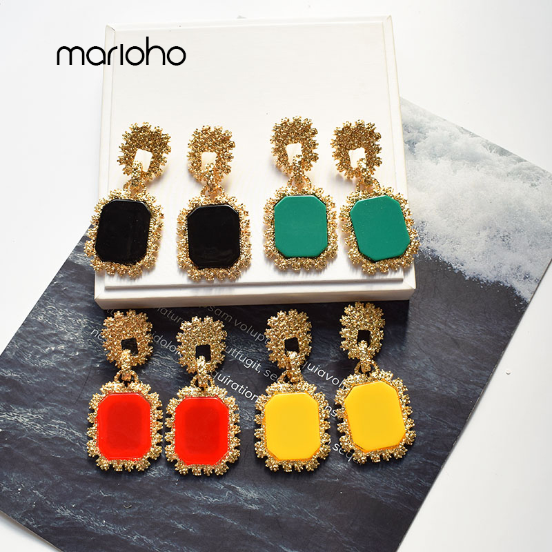 Fashion Metal Bump Square Drop Earrings For Women Multicolor Geometric Earrings Simple Statement Party Jewelry Accessories
