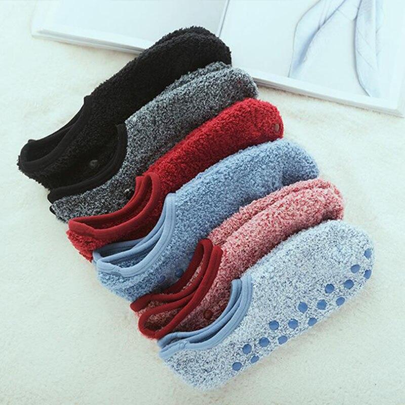 1 пара, носки башмачки для женщин и мужчин, зимние теплые хлопковые плюшевые дышащие нескользящие носки, однотонные короткие носки, домашние тапочки|Носки|   | АлиЭкспресс