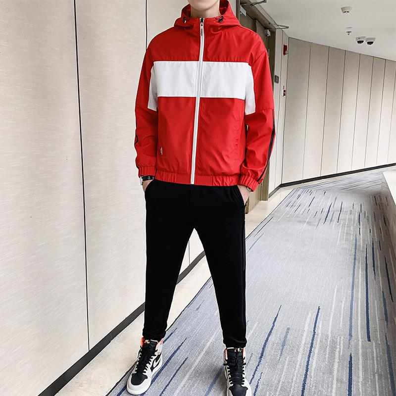 Wu Jian Dao 2019 Autumn MEN'S Casual Suit Korean-style Trend Handsome Hooded Jacket Teenager Two-Piece Set Fashion