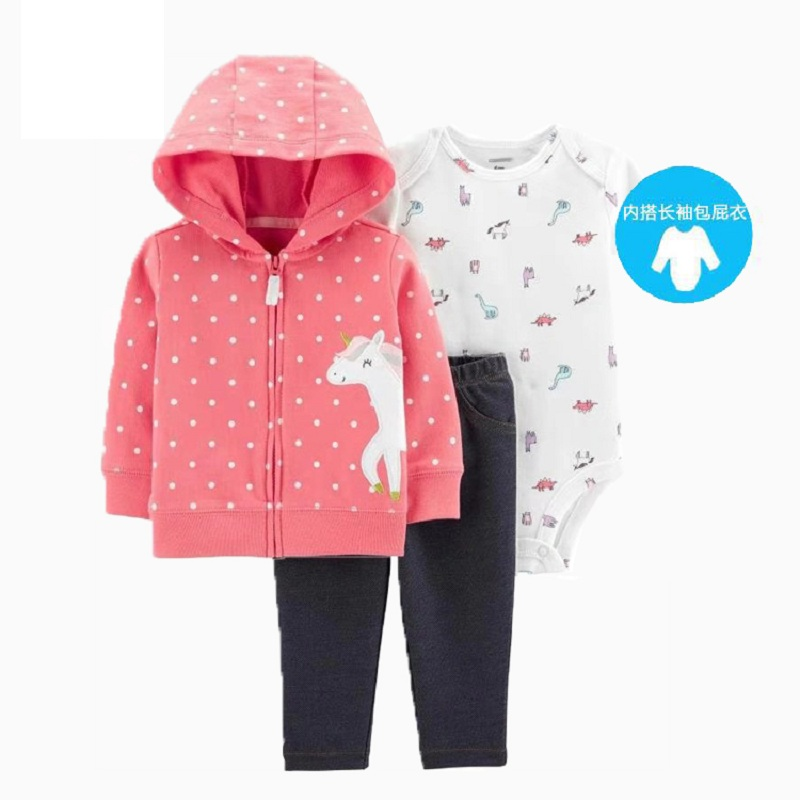 Baby Girl Clothes Cartoon 2019 Autumn Newborn Boy Outfit Long Sleeve Sets Hooded Jacket Unicorn+romper+pants Winter Clothing