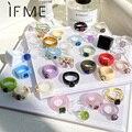 WENN MICH Koreanische Geometrische Unregelmäßige Bunte Transparent Harz Acryl Ringe für Frauen mädchen Trendy Phantasie Kristall Ring Schmuck Neue