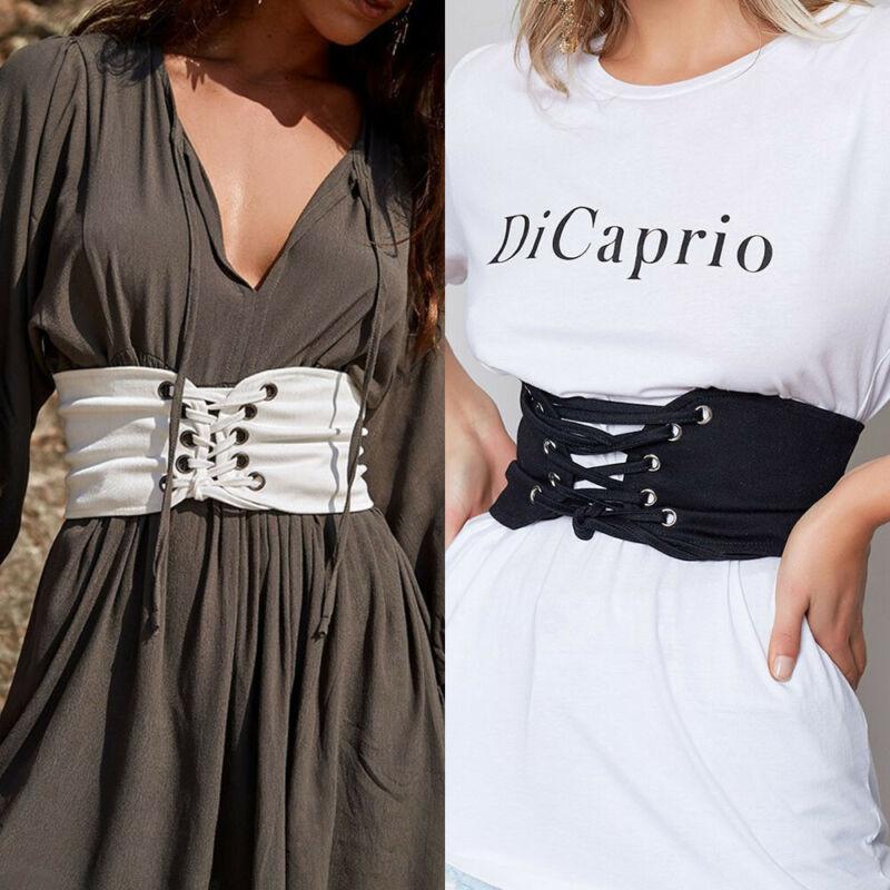 Women's Wide Waist Bandage High Waist Corset Belt Cincher Elastic Waistband Tied Fashion Outwear For Women Slimming Body