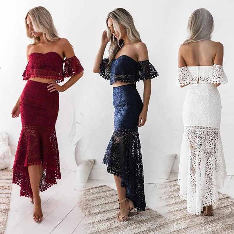 Julang Sexy dwuczęściowy zestaw z krótkim rękawem krótki Top długi zestaw spódnic odzież na przyjęcia zestawy strój kobiety koronkowy top tuba stroje 2020