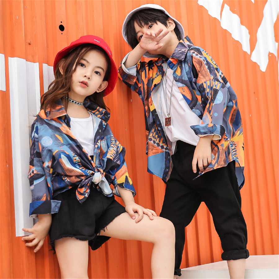 Loose Jazz Dance Costumes Kids Hiphop Street Dance Rave Outfit Performance Clothing Practice Wear Child Casual Clothes
