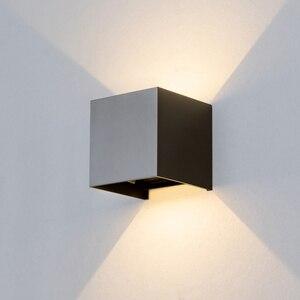 Image 4 - قابل للتعديل الجدار الخفيفة 6 واط LED داخلي في الهواء الطلق الألومنيوم الجدار الشمعدان سطح شنت مكعب الجدار الإضاءة خارج حديقة الجدار مصباح