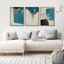 Abstract Wall Art Canvas Painting Poster Blue Black Gray color block Gold Line Print Picture for Living Room Decor Drop Shipping printed abstract graphics psychedelic nebula space painting canvas print decor print poster picture canvas free shipping ny 5746