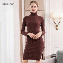 2019 Women 100% Cashmere Turtleneck Knit Long Dress Allover Ribbed Sheath Winter Sweater Dress Soft Long Knitwear Sweaters недорого