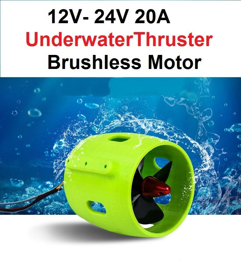 1PCS 12V 24V 20A Underwater Thruster Brushless Motor 4 Blade Propeller Propulsion 30-200W Parts for RC Bait Tug Boat 2019 New