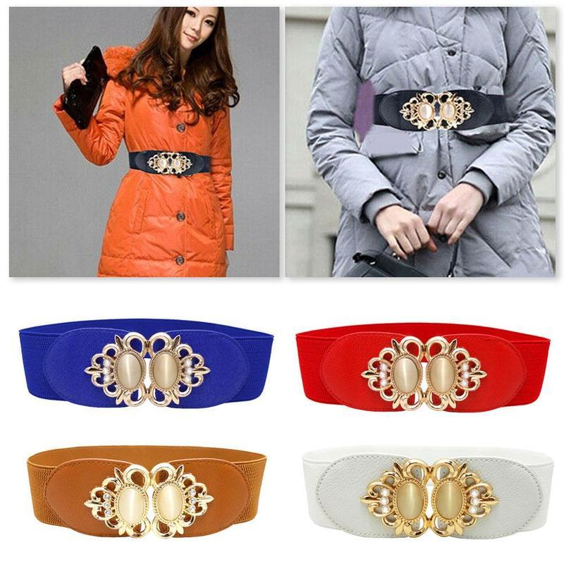 Fashion 6cm Elegant Women Lady Girl Silver Buckle Wide Stretch Elastic Corset Waist Belts Waistband Drop Shipping 65cm