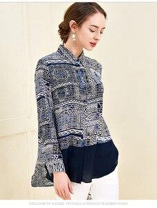 Image 4 - 100% ピュアシルクの女性の滑走路シャツターンダウン襟長袖プリントファッションシャツブラウス