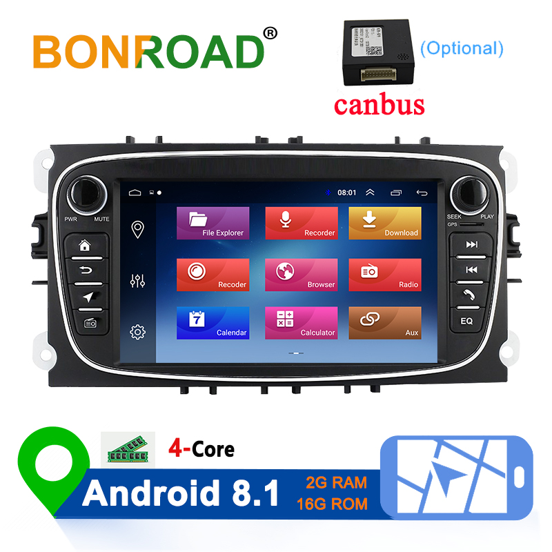 Bonroad 2 Din Android 8.1 Car Multimedia Player for Ford Focus 2 3 2004-2011 Mondeo Galaxy S-max Kuga C-max Car Radio Navigation image