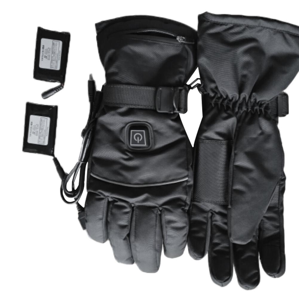 1 Pair Winter USB Hand Warmer Electric Thermal Heating Heated Gloves Battery Powered For Men And Women Motorcycle Ski Gloves