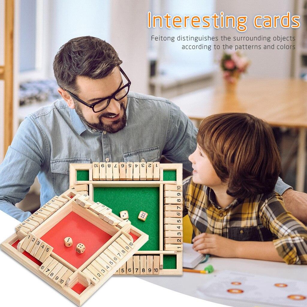Traditionnel quatre côtés en bois 10 numéro Pub Bar plateau jeu de dés pour fermer la boîte famille voyage amusant jeu ensemble famille Fun jeux # fs
