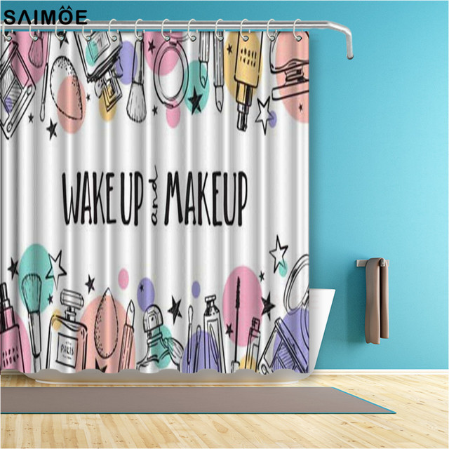 fashion makeup perfume cosmetics seamless pattern shower curtains polyester fabric bath curtain shower curtain sets