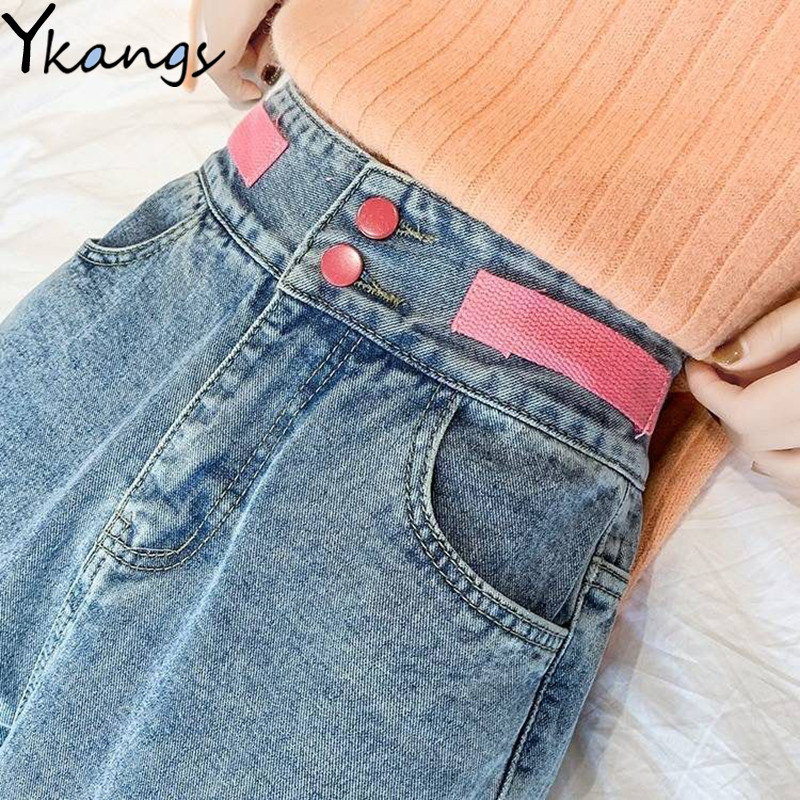 Woman High Waist Pink Belt Ripped Jeans Mom Banana Jeans Harem Pants 2020 Female Loose Wide Leg Ankle Length Pants Streetwear