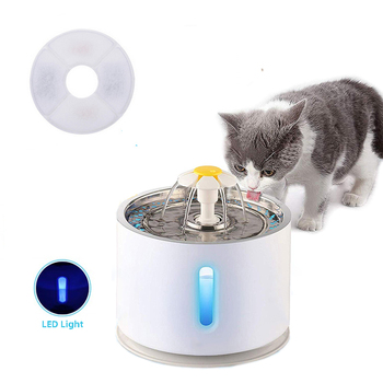 Automatic Pet Cat Water Fountain with LED Lighting 5 Pack Filters 2.4L USB Dogs Cats Mute Drinker Feeder Bowl Drinking Dispenser 10