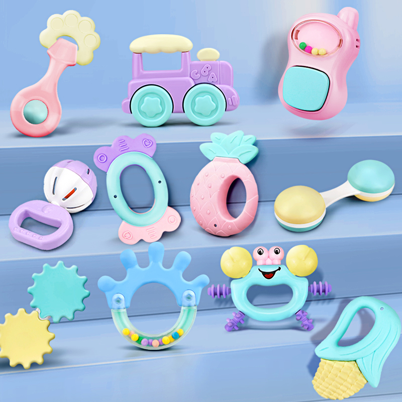 Baby Teether Toys Crib Rattle Handbell Soft Pink Blue Animal Hand Hold Jingle Shaking Bell Music Sound Newborn Baby 0-12 Months