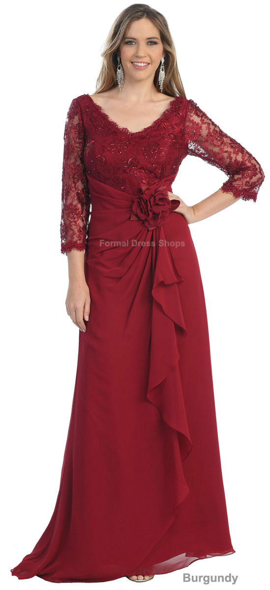 2016 Full Sale Real Vestidos Femininos Groom Formal Evening Long Sleeve Trendy Gown Lace For Custom Mother Of The Bride Dress