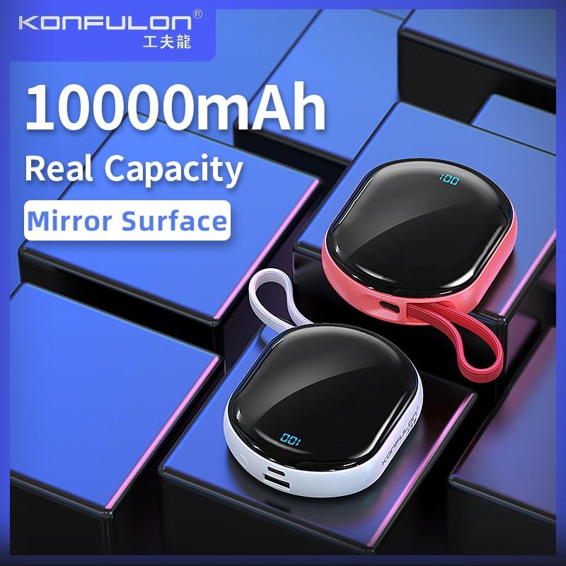 Mini Power Bank LED Display Portable Charger PowerBank Mirro Surface Bank Power10000mah Slim Bank For Iphone Xiaomi 1