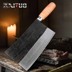 XITUO Full Tang Chef knife Chopping Chinese Style Butcher Slaughter Knife Kitchen Cleaver Wooden Handle Hotel Cooking tools
