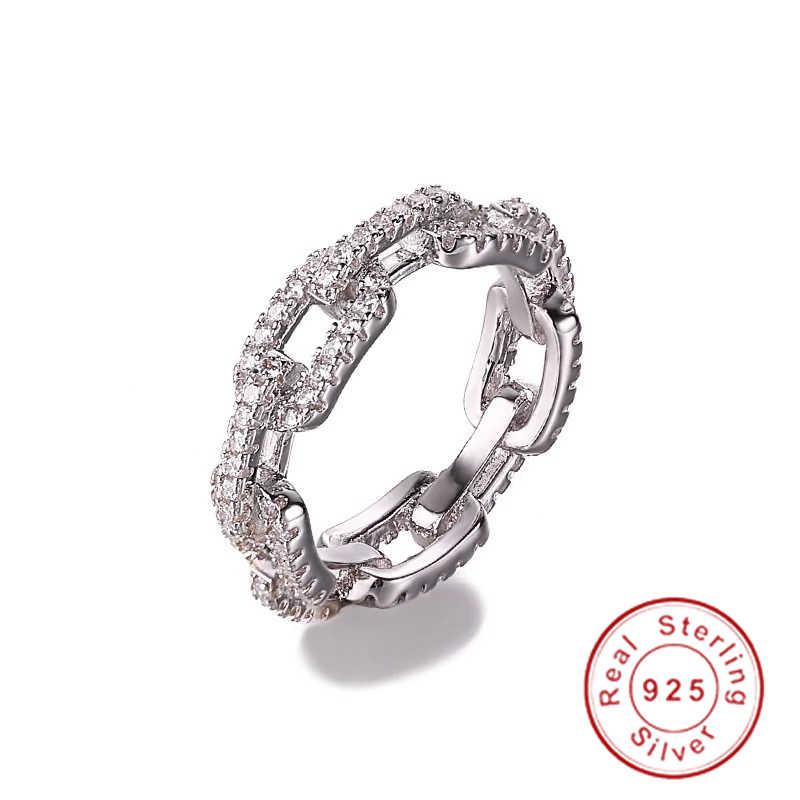 Estilo de corrente de jóias de luxo 100% real soild 925 anel de prata esterlina aaaaa zircon anéis de banda de casamento para presente