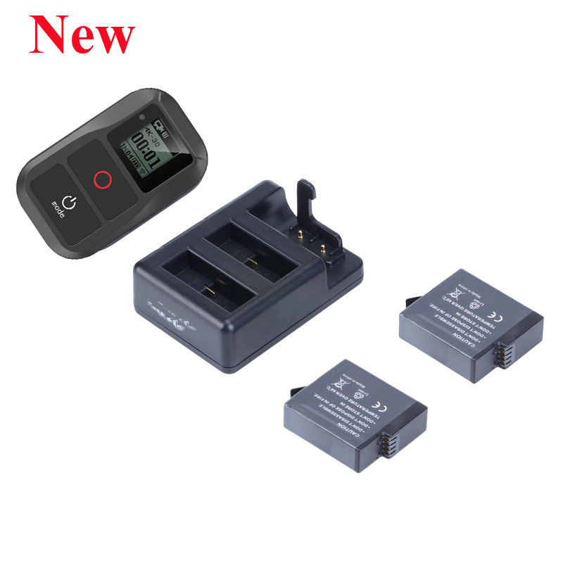 New Go Pro <font><b>Hero</b></font> 8 7 <font><b>6</b></font> 5 <font><b>Smart</b></font> Wifi <font><b>Remote</b></font> control +3 Way Batteries Charger +2pcs Battery For <font><b>GoPro</b></font> <font><b>Hero</b></font> 8 7 <font><b>6</b></font> 5 Black Accessores image