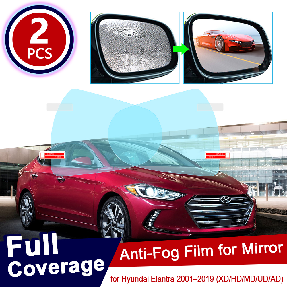 for Hyundai Elantra 2001~2019 XD HD MD AD Avante <font><b>i30</b></font> 30 Full Cover Anti Fog Film Rearview Mirror Accessories 2007 2009 2014 <font><b>2017</b></font> image