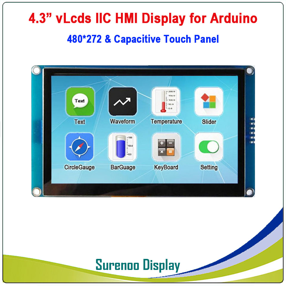"""4.3"""" 480*272 Serial I2C IIC VLcds HMI Intelligent Smart TFT LCD Module Display Capacitive Touch Panel For Arduino"""