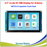 4.3 480*272 Serial I2C IIC vLcds HMI Intelligent Smart TFT LCD Module Display Capacitive Touch Panel for Arduino