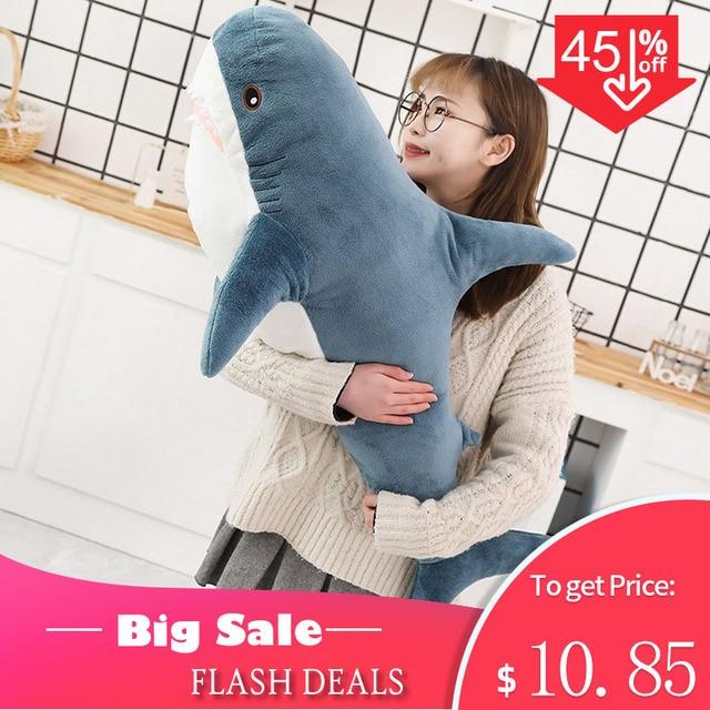 80/100/140CM Big Size miękka zabawka pluszowy rekin nadziewane zabawki pluszowe zabawki śpiąca śliczna poduszka poduszka wypchane zwierzę prezent dla dzieci