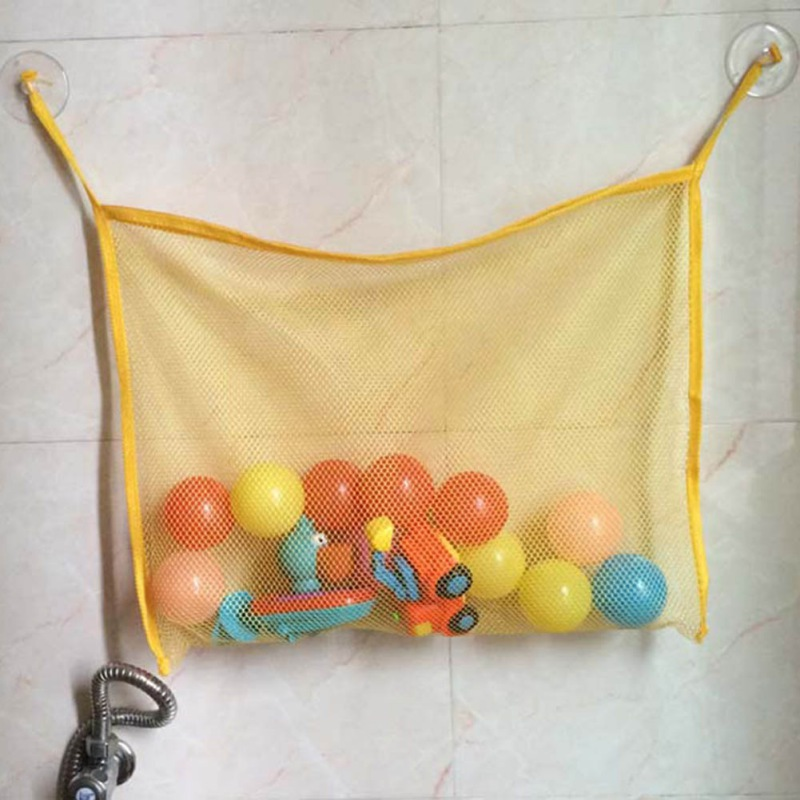 Kids Baby Bath Tub Toy Tidy Storage Suction Cup Bag Mesh Children Bathroom Organiser Net Swimming Pool Accessories 45*35CM