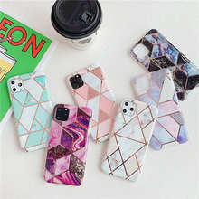 Luxury Plating Geometric Marble Case For iphone 11 Pro X XR XS Max Glossy Cover iPhone 7 8 6 6s Plus Soft IMD TPU Back Coque