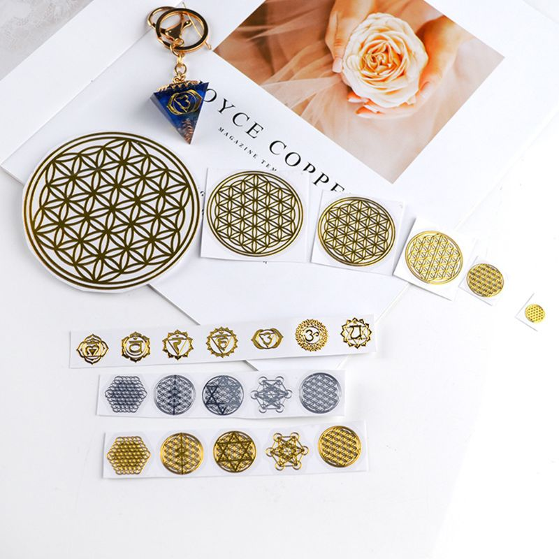 1Set Flower Invitation Energy Metal Copper Sticker Energy Tower Pattern Paste For DIY Making Mould Craft Jewelry Tool