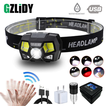 цена Super bright LED headlamp  built-in inductive sensor USB rechargeable 6 lighting mode LED headlight for running, fishing, etc. онлайн в 2017 году