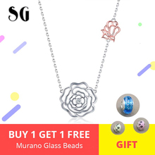 Valentines Day Necklace New Arrival 925 sterling silver Elegant Rose Necklaces & Pendants Women Sterling Silver Jewelry