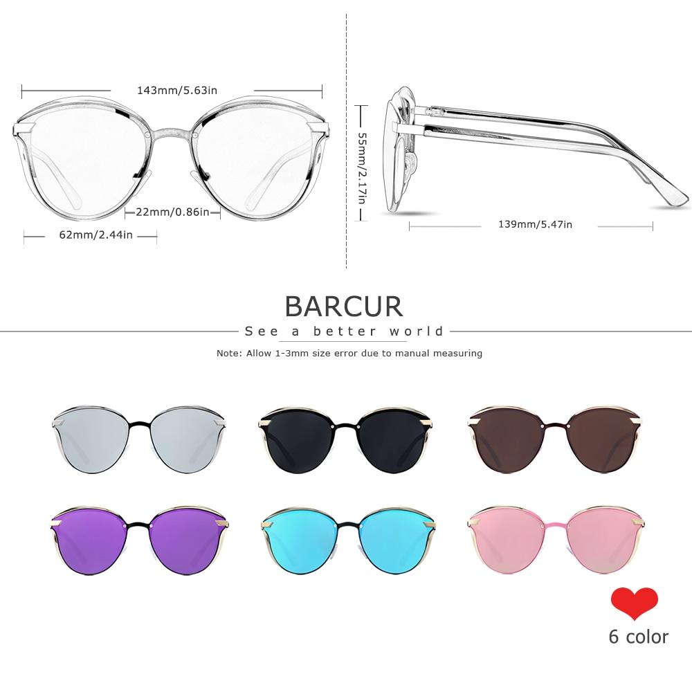 BARCUR Luxury Polarized Sunglasses Women Round Sun glassess Ladies lunette de soleil femme 4