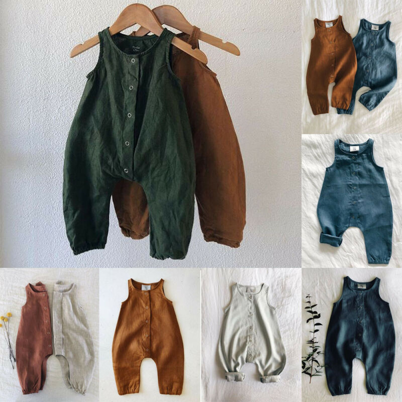 Kids Newborn Baby Boy Girl Cotton  Jumpsuit Linen Clothes Outfit