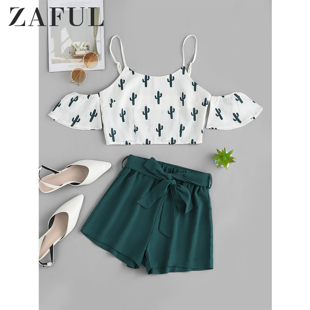 ZAFUL Cactus Print Open Shoulder Top And Shorts Set Short Sleeves High Waist Women Casual Two Pieces Set Streetwear 2019