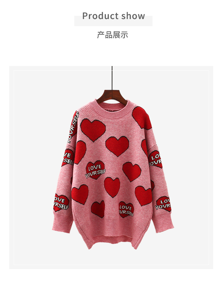 H.SA Women Oversized Sweater and Pullovers Oneck Sweet Heart Letters Printed Pull Jumpers Long SLeeve Pink Streetwear Knit Tops 8