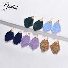Joolim Jewelry Wholesale Bohemian Style Tassel Drop Earring Dangle Earring green bohemian style colorful water drop crystal tassel long dangle earring