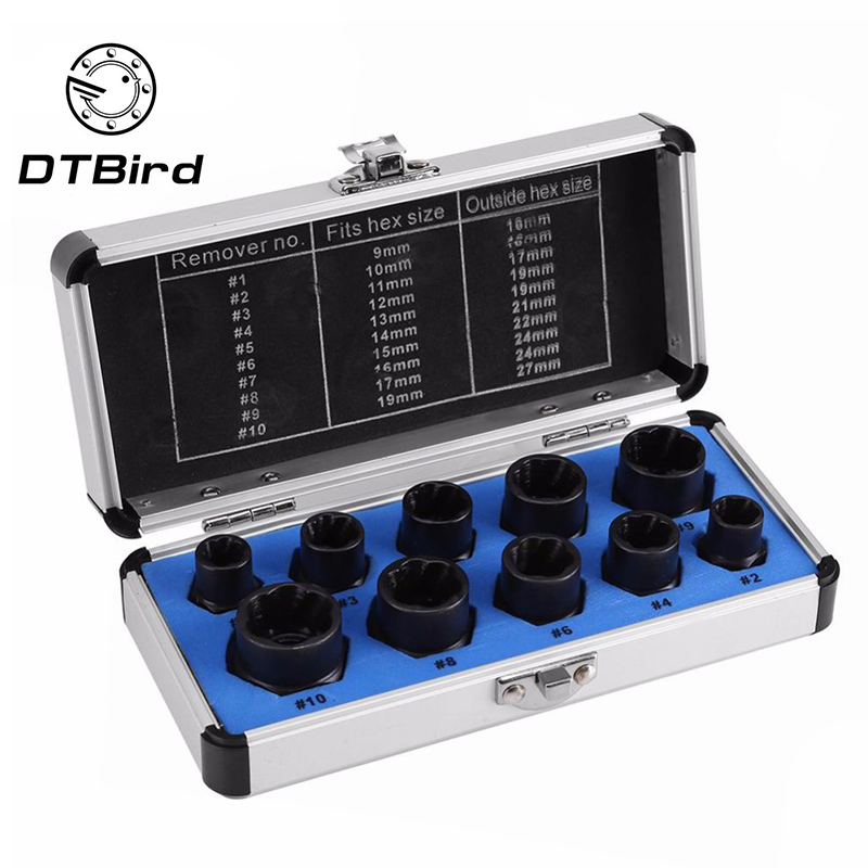 10PCS Nut Removal Tool Damaged Lug Nut Lock Remover Twist Socket Set Car Wheel Nut Socket Screw Extractor Tool Automotive Tools