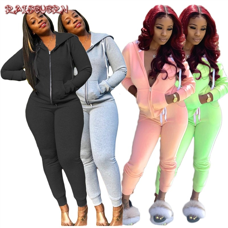 RAISEVERN Grey Black Pink Tracksuit Casual Womens Sets Pants Jackets Two Pieces 2019 Zipper Set Autumn Sweat Suits Women Outfit