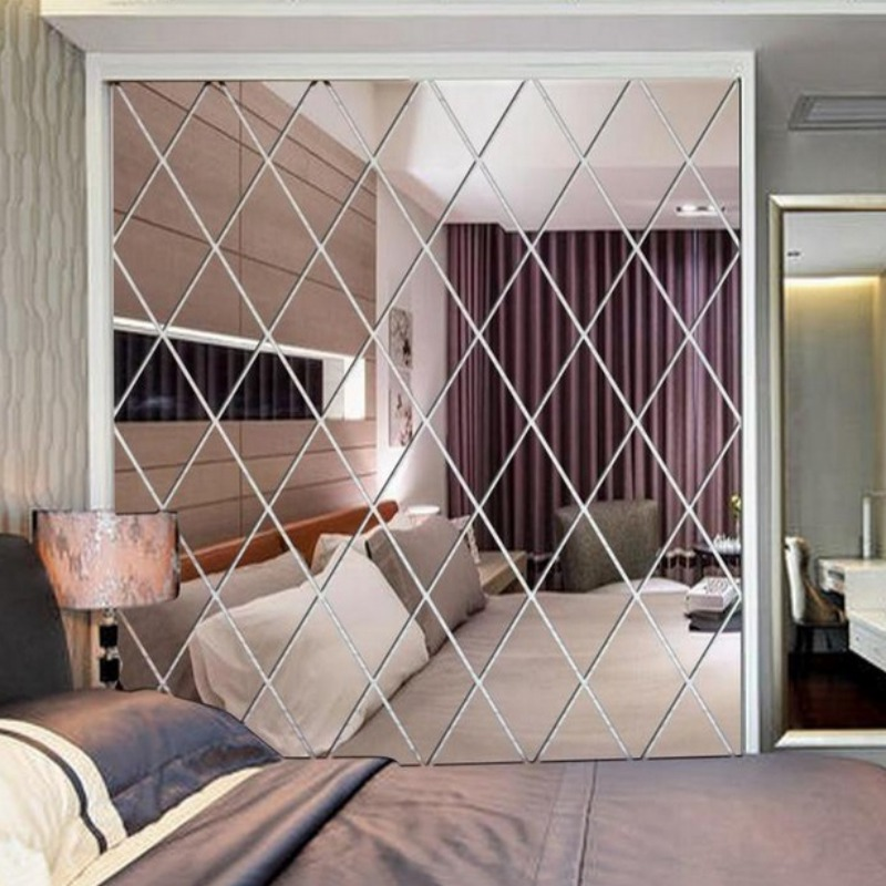 Self Adhesive Removable Diamond Spliced Mirror Stickers Acrylic Sheets Wall Decals For Home Art Room Bedroom Decoration