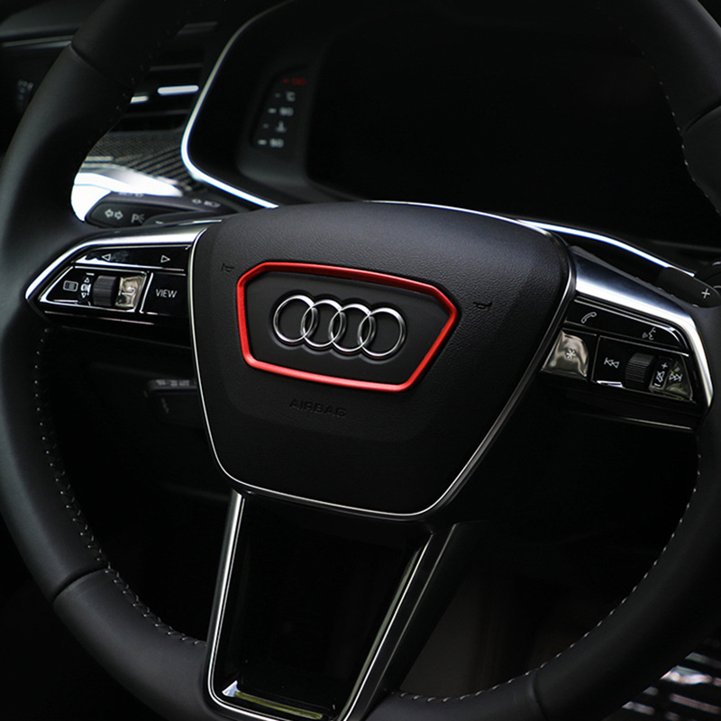 Car steering wheel trim frame emblem decoration ring stickers For <font><b>Audi</b></font> <font><b>A6</b></font> A7 S7 C8 <font><b>2019</b></font> alloy Interior sticker car accessories image
