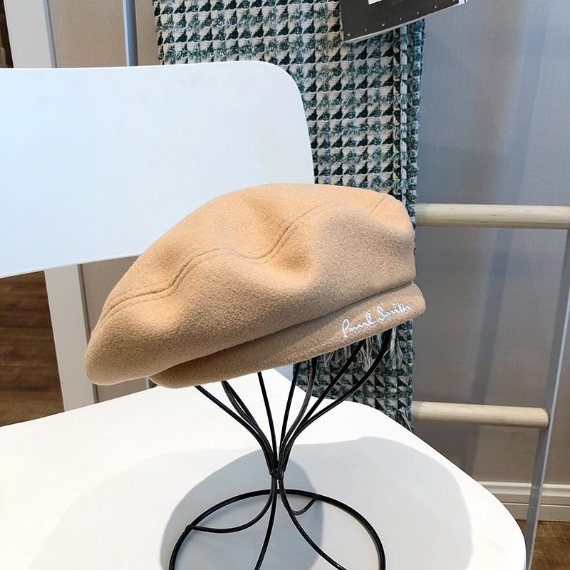 2022 Embroidered Beret Women's Autumn Winter Woolen British Retro Easy Matching Flat Top Artistic Painter Hat Sweet Pumpkin