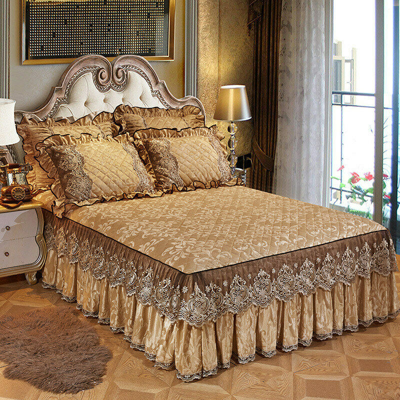 Lace Velvet Bedspread King Size Quilted Bedskirt Ruffle Elastic Full Queen Bed Cover Pillow Cases Soft Warm European 3-Piece