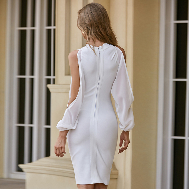 ADYCE 2021 New Autumn Women White Long Sleeve Bandage Dress Sexy Bodycon Mini Celebrity Runway Club Party Bandage Dress Vestidos 6